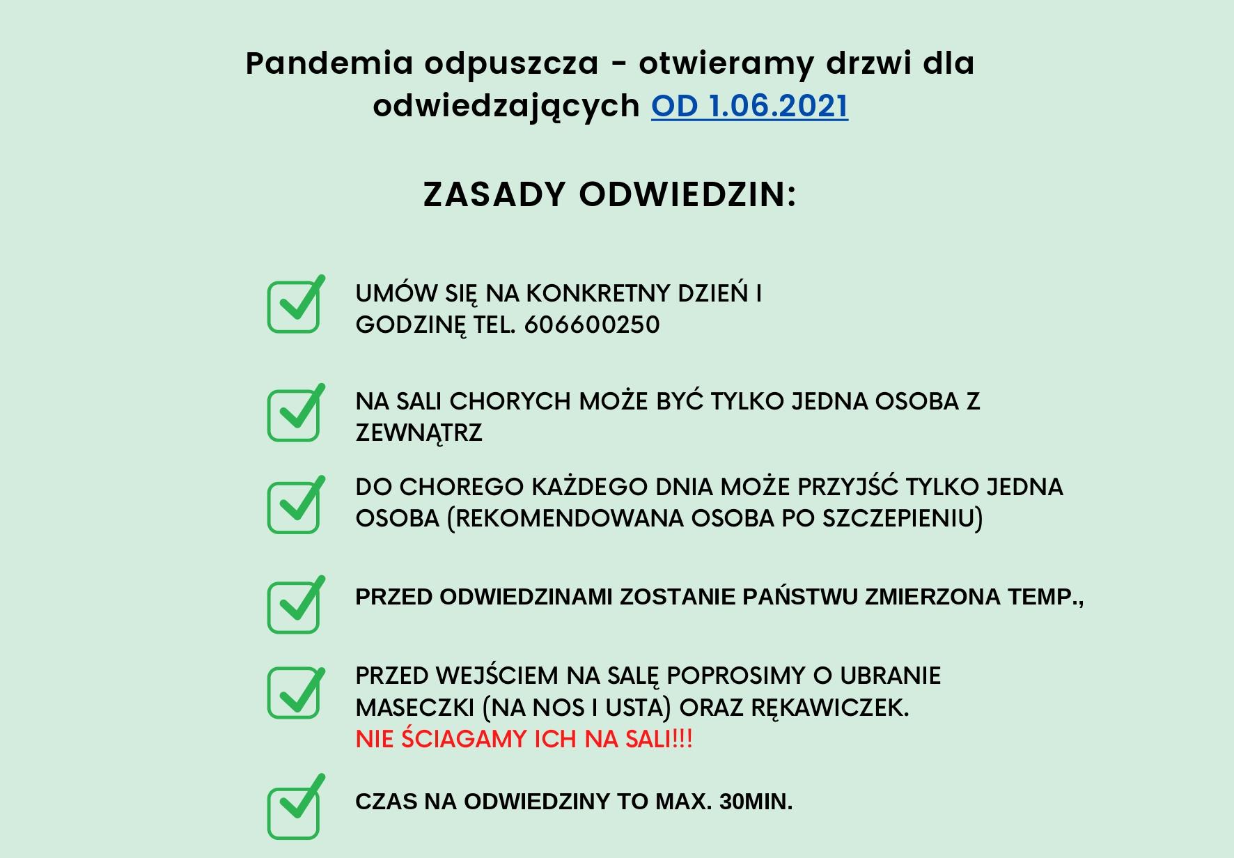 Pandemia odpuszcza – otwieramy drzwi dla odwiedzających ZASADY ODWIEDZIN_page-0001 (1)